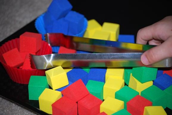 tongs + cubes