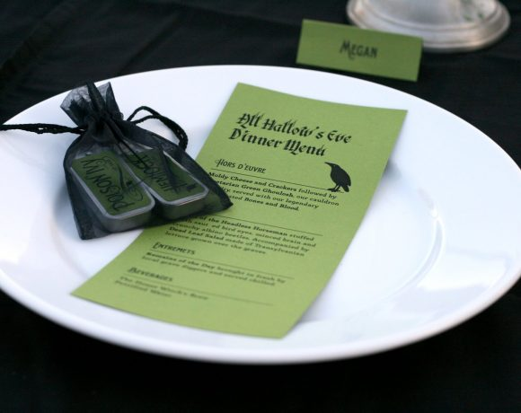 Place Setting and Menu for Halloween Dinner Party