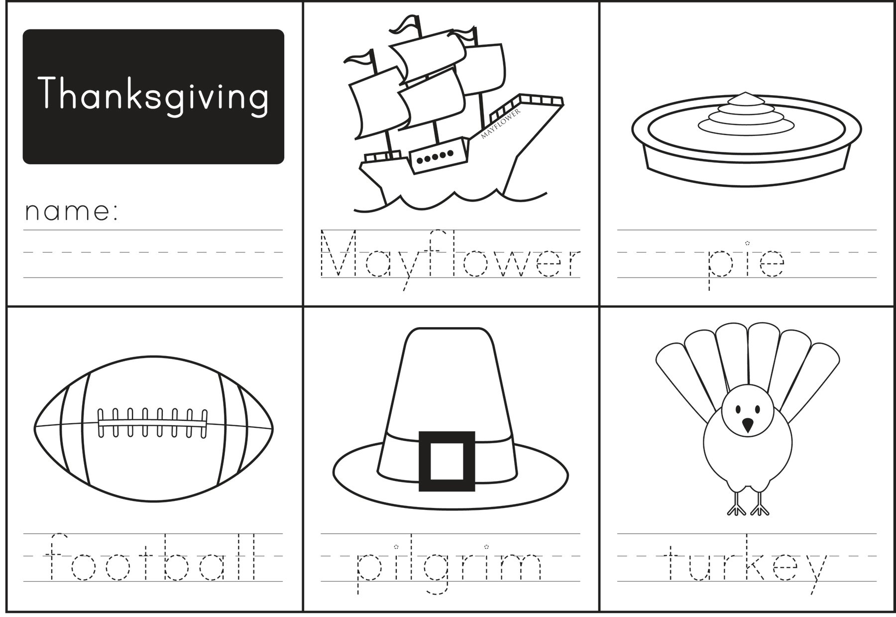 Thanksgiving Printable Worksheets