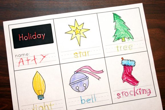 Holiday Handwriting Free Worksheet