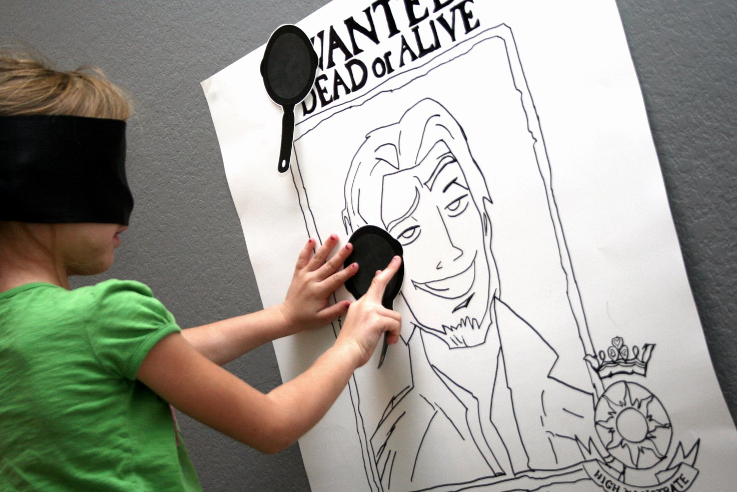 Pin The Frying Pan on Flynn Rider Tangled Party Game