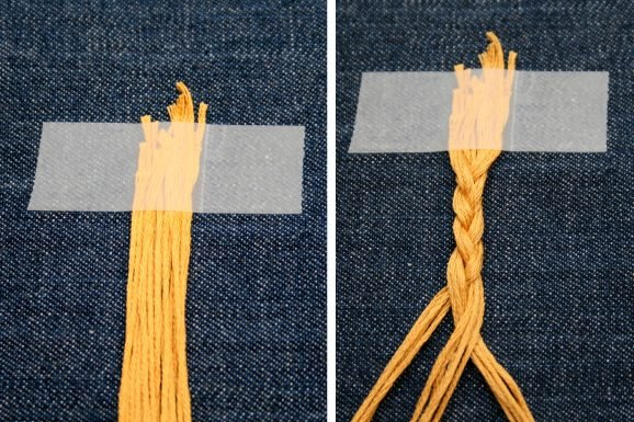 Tape Down Threads Separate and Braid