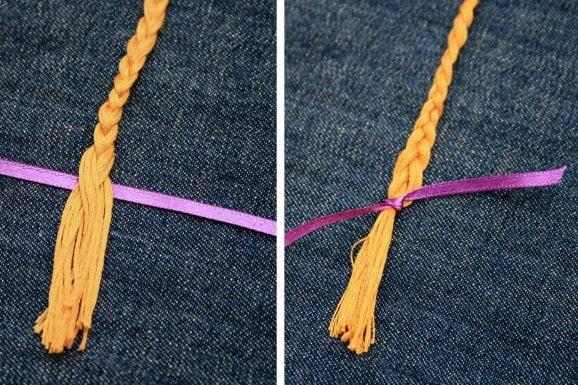 Finish Rapunzel Braid with Purple Ribbon