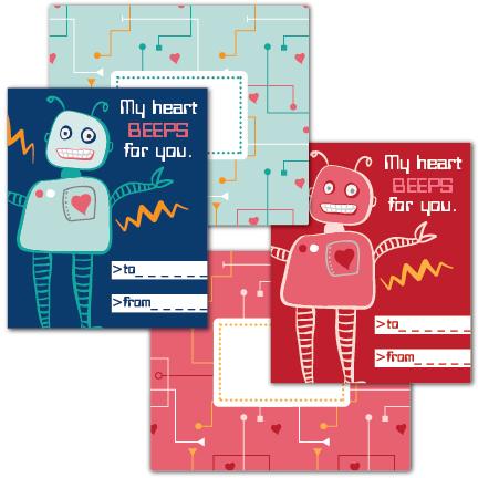 Beep Robot Free Printable Valentine
