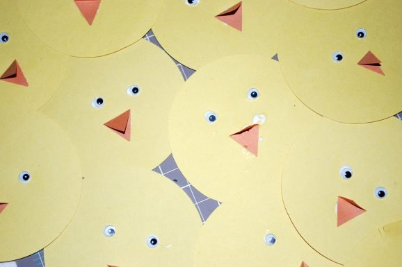 kid easter craft chick banner