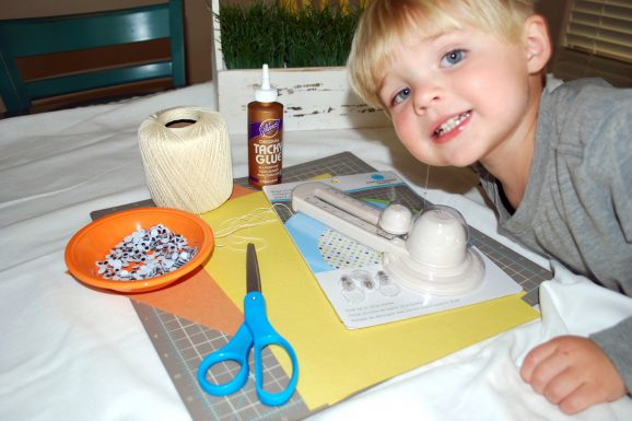 kid easter crafts chick banner supplies martha stewart circle cutter twine