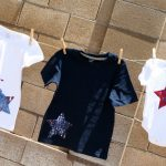 splatter paint patriotic shirts hanging