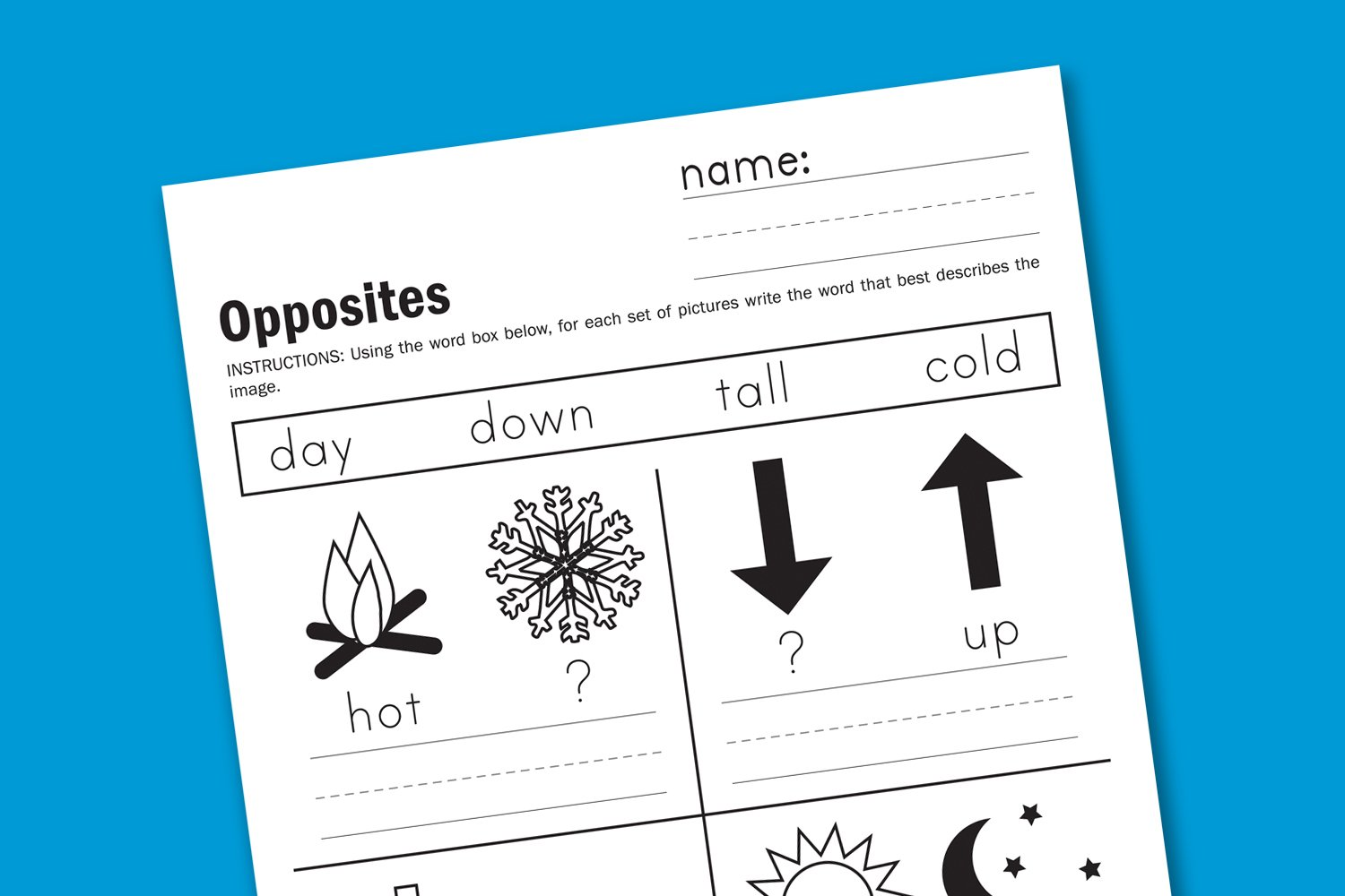 worksheet Opposite Worksheets inspired by opposition paging supermom download