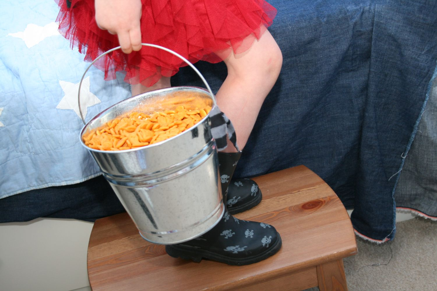 Fish Crackers served in a bucket at a pirate party