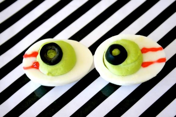 Olive Deviled Egg Eyeballs