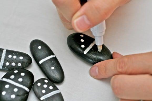 DIY Pebble Domino Game Pieces