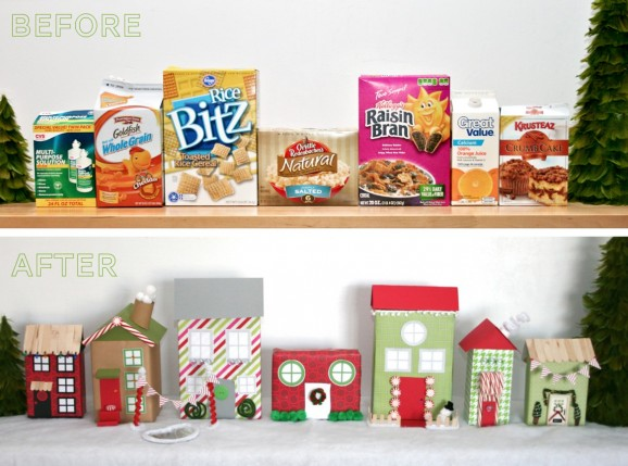 BeforeAfterChristmasVillageofCerealBoxes