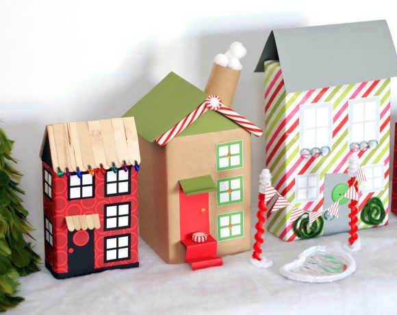 Christmas Village from Recycled Boxes