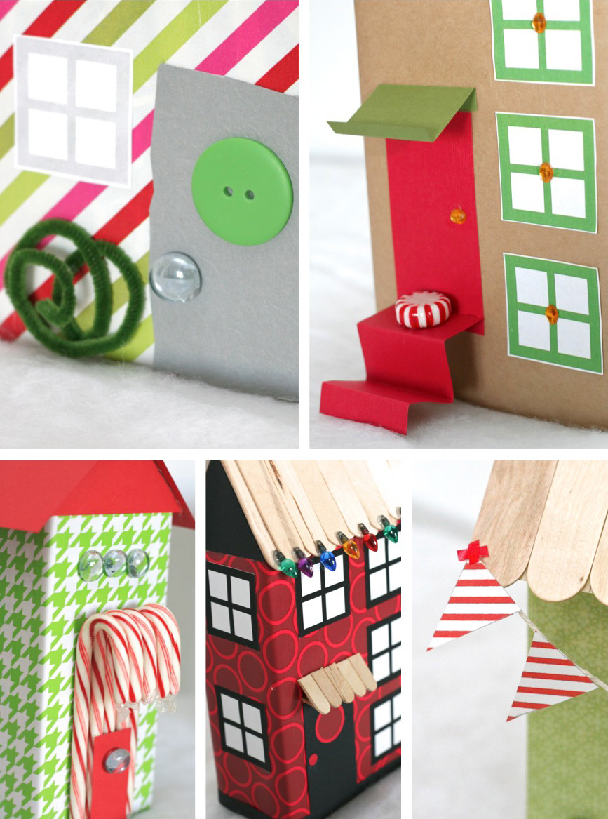 Fun Cardboard Christmas House Details