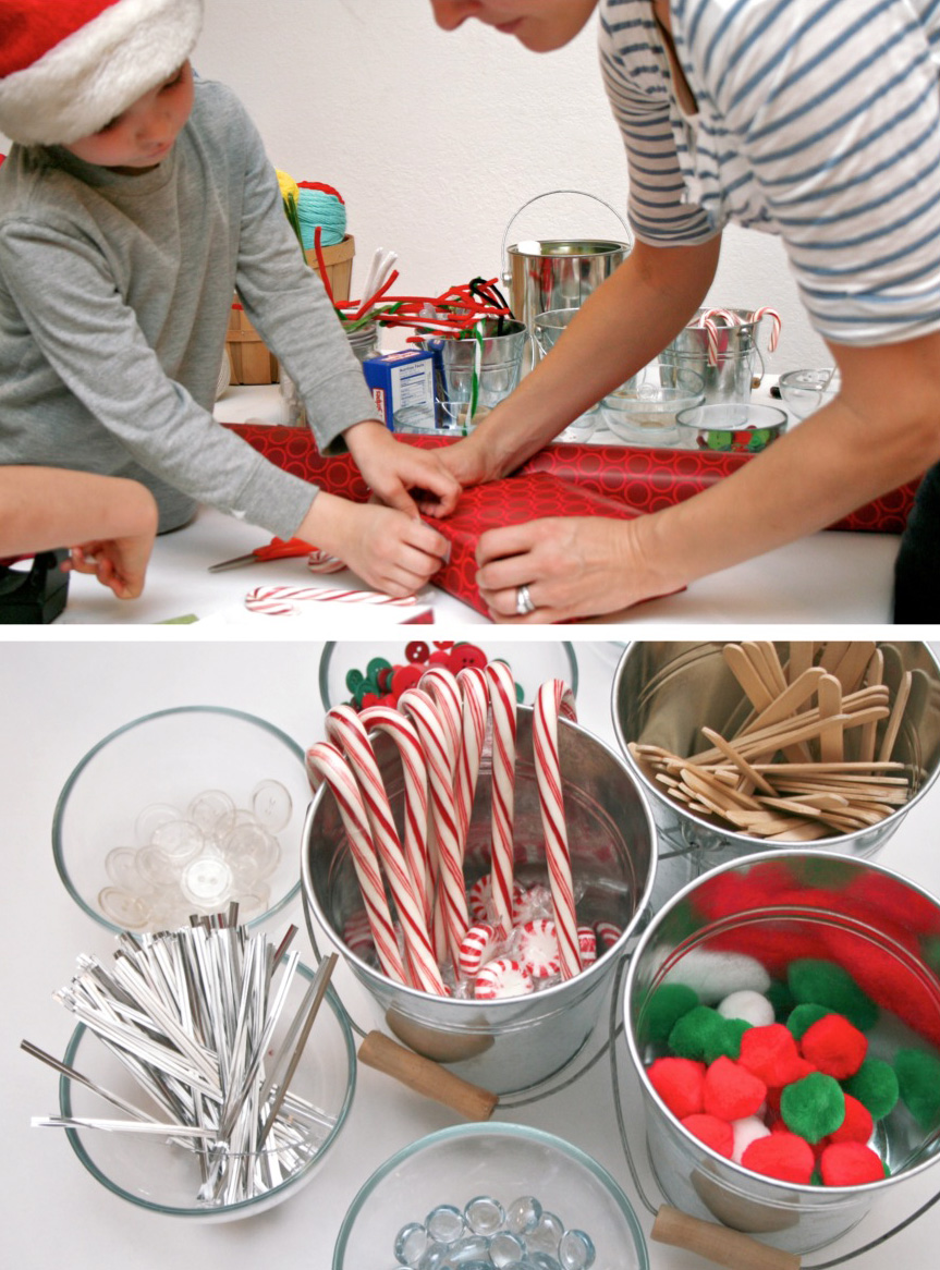 Craft supplies for a family Christmas village