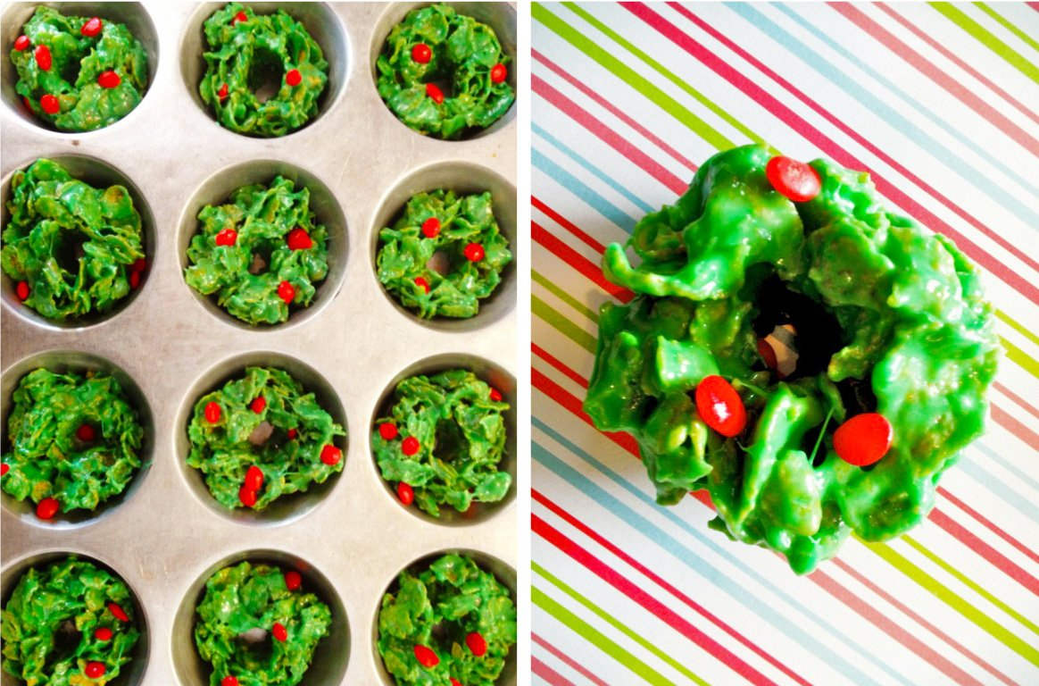 christmas corn flake wreath treats