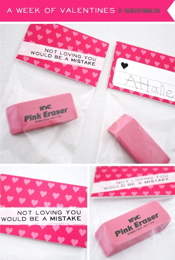 Free Printable Mistake Pink Eraser Valentine