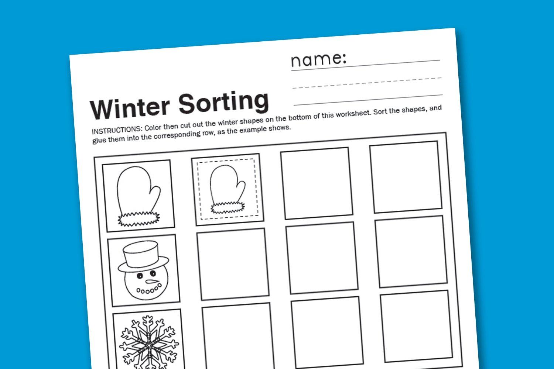 Workbooks sorting kindergarten worksheets : Winter Sorting Worksheet - Paging Supermom