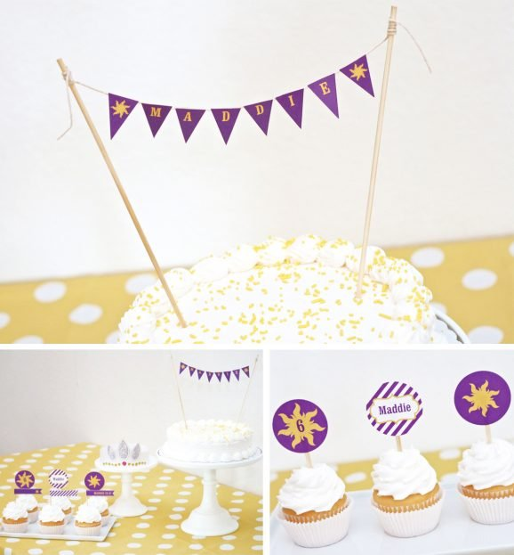 Tangled Birthday Cake With Mini Sun Bunting