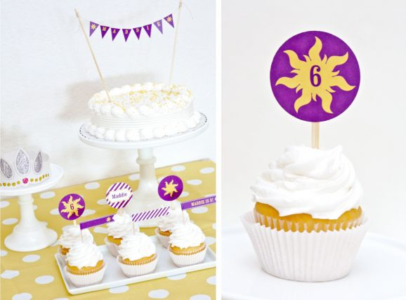 Printable Rapunzel cupcake toppers
