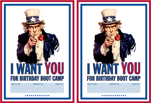 "I Want To Be With You: ""I Want You!"" Boot Camp Printable Invitation"