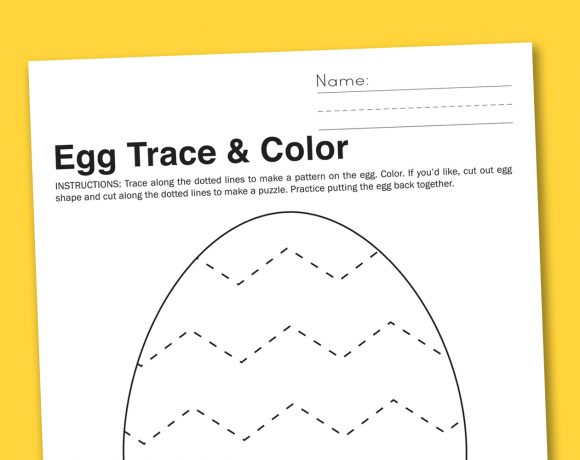 Egg Trace + Color Preschool Worksheet