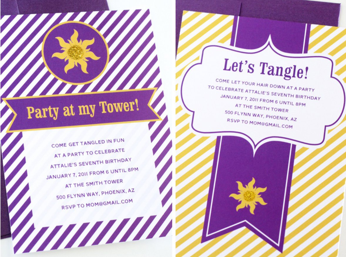 ... get TWO new Tangled Birthday Party invite ideas (you're welcome