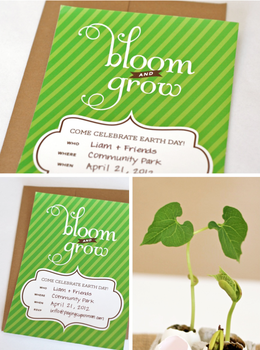 Bloom & Grow Earth Day Party Printable Invitation Freebie