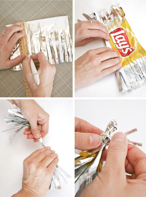 How to Recycle Used Chip Bags into Party Decorations