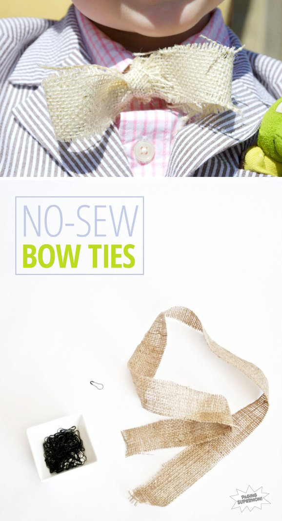 Easy No-Sew #Easter Burlap Bow Ties via @PagingSupermom