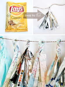 Potato Chip Bag Recycled into Party Decor