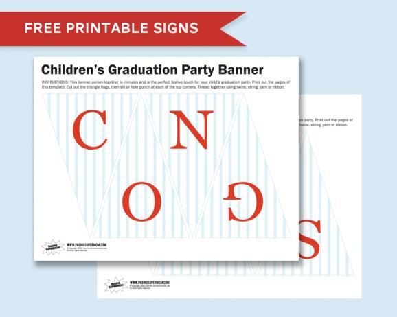 Congrats Graduation Mini Banner Free printable via @PagingSupermom