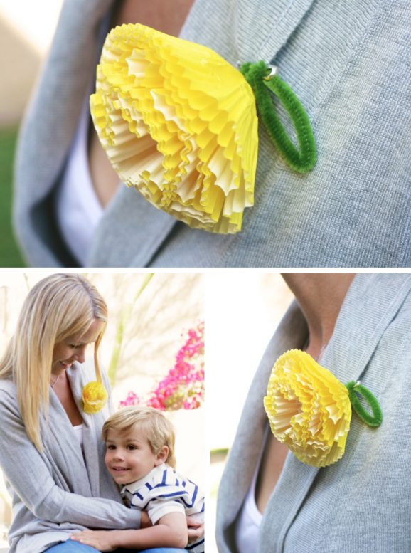 Easy Mother's Day Corsage made from Cupcake Liners