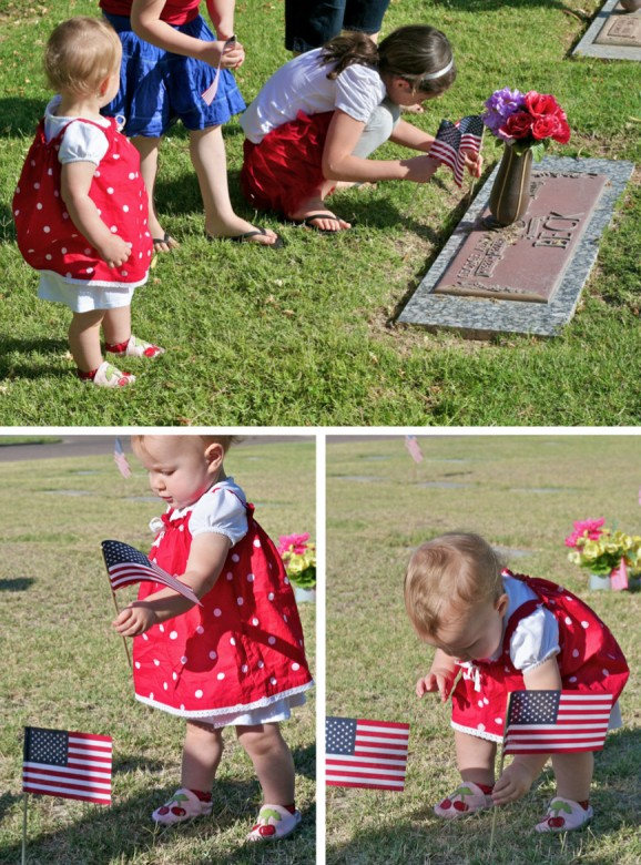 Placing Flags on Graves on Memorial Day