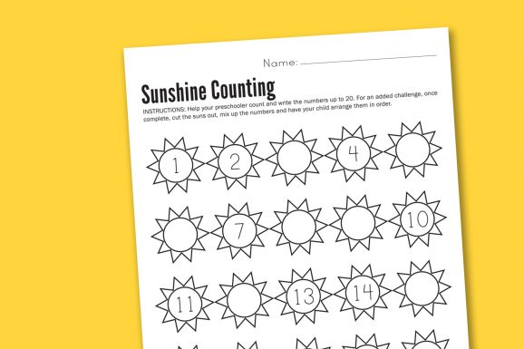 preschool counting math worksheet printable free