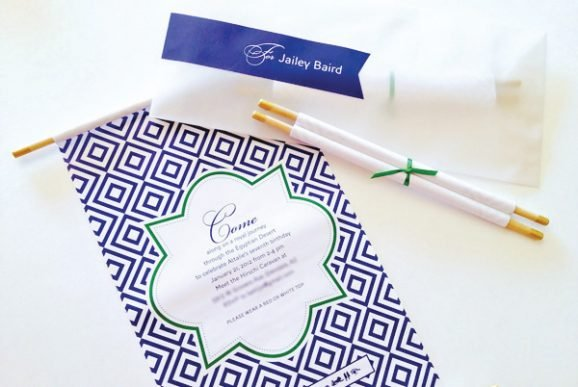 Elegant Egyptian Moroccan Scroll Birthday Party Invitations