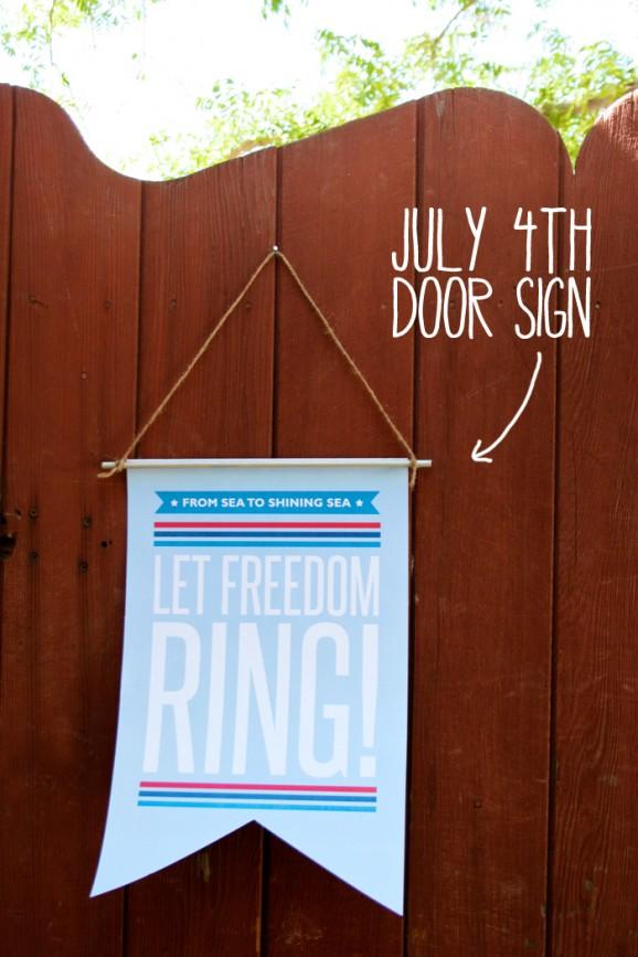 Free July 4th Door Sign Patriotic Decor