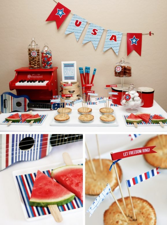 Let Freedom Ring July 4th Party Food Table