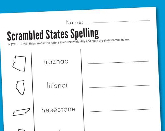 Worksheet Wednesday: Scrambled States Spelling