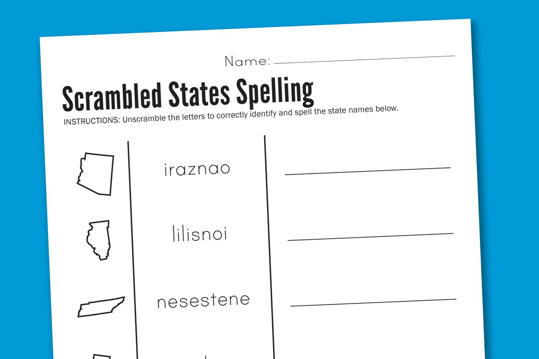 worksheet wednesday scrambled states spelling paging supermom. Black Bedroom Furniture Sets. Home Design Ideas