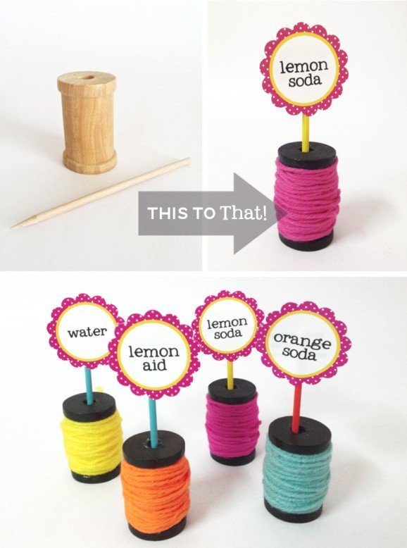 Wooden Spool Party Sign Holders Tutorial #lalaloopsy