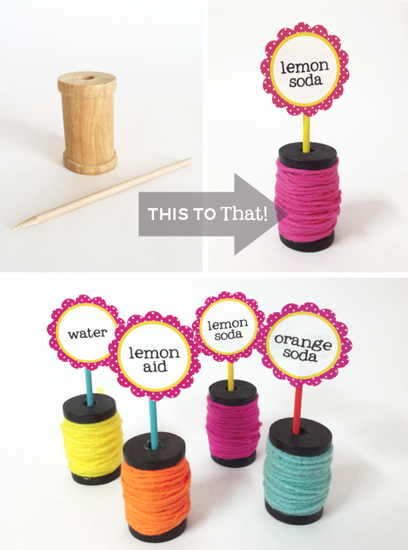 Wooden Spool Party Sign Holders Tutorial