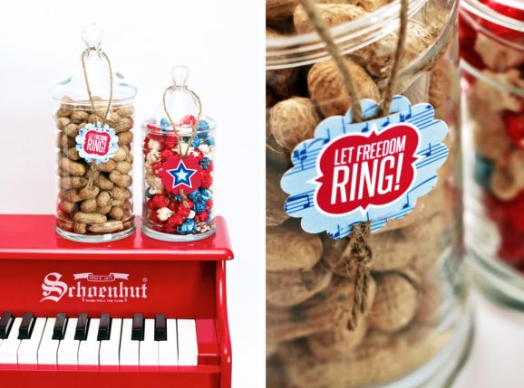 Display Patriotic Treats on Small Red Piano