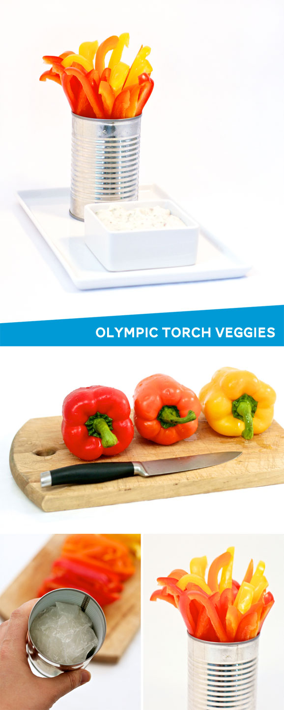 Olympic Flame Veggie Tray #olympics