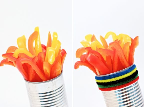 Olympic Torch Veggies Side By Side
