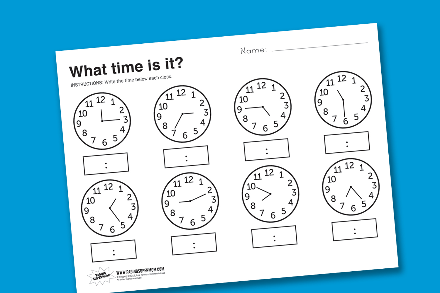 Workbooks worksheets for telling time : Worksheet Wednesday: What Time Is It? - Paging Supermom