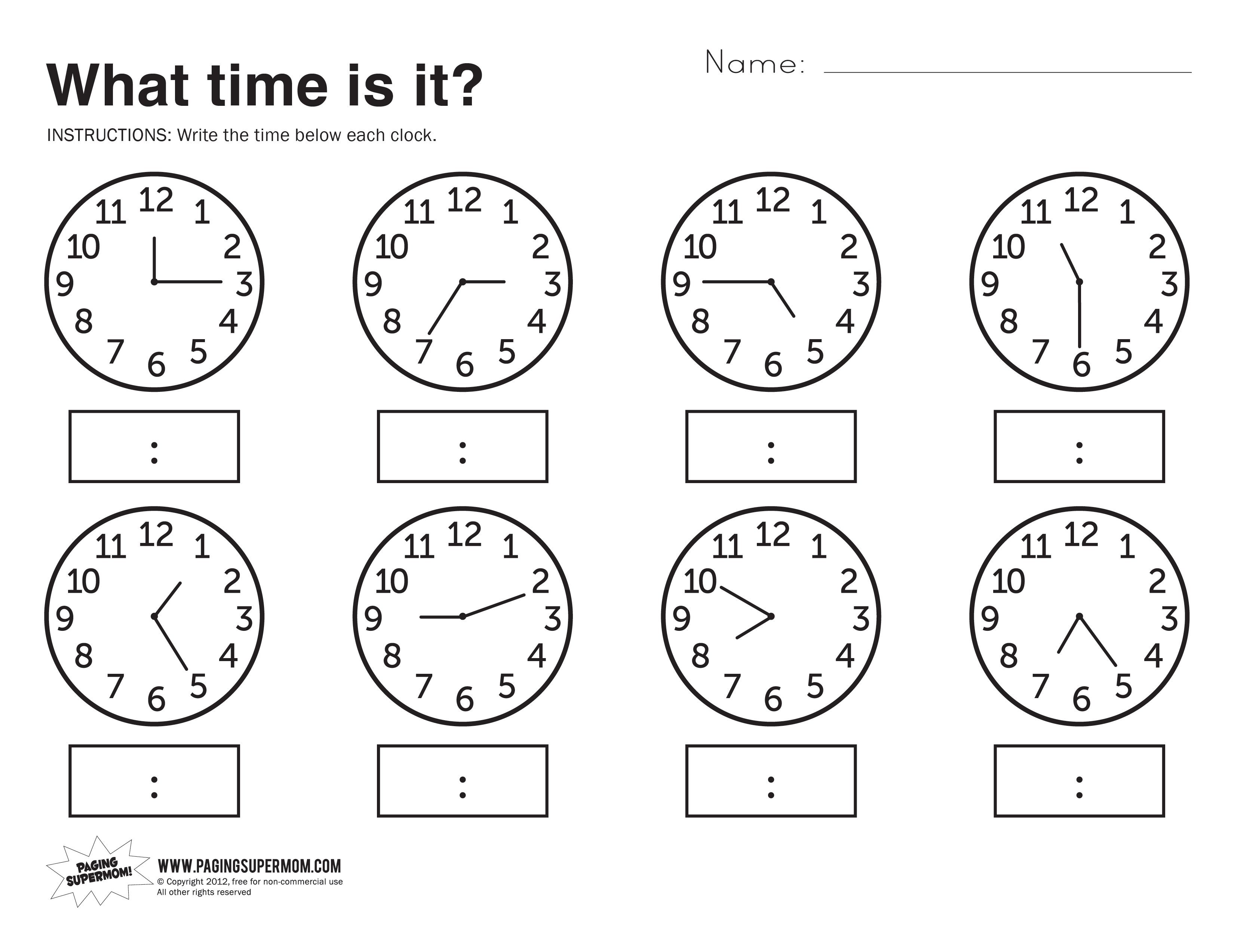 What Time Is It Printable Worksheet Paging Supermom – Workbook Vs Worksheet