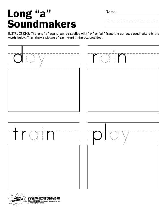 math worksheet : long a soundmakers worksheet  paging supermom : Long A Worksheets Kindergarten