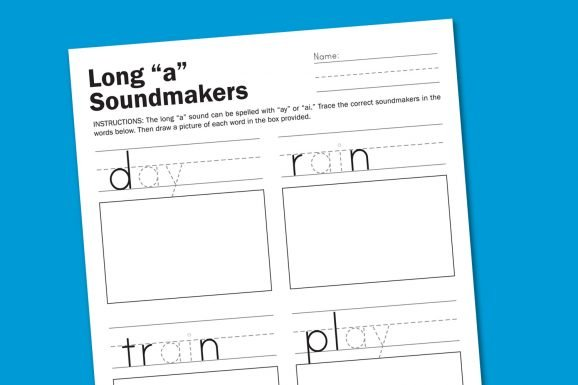 "Long ""A"" Sounds Phonics Worksheet for Kindergarten #phonics #worksheets #kindergarten"