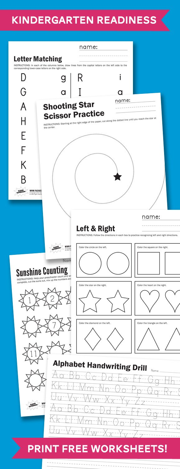 Kindergarden Readiness - Print Free Worksheets to Practice at home #kindergarten #school #worksheets #printables